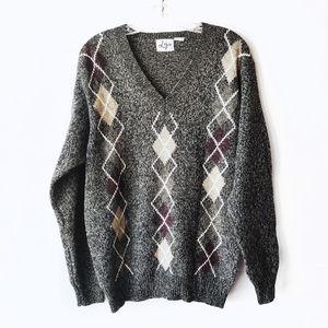 Vintage Lizo Gray Argyle Print Knit V Neck Sweater